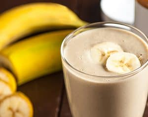 Banana and Almond Butter Smoothie and Boiled Eggs