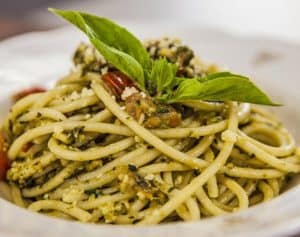 Grilled Chicken and Pesto Brown Pasta