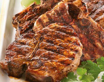 Grilled Pork Chop with Broccoli Tempura and Paleo Teriyaki Dip