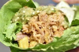 Carnitas Lettuce Wraps with Salsa Verde with Pineapple & Salsa