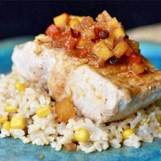 Grilled Market Fish with Mango Chutney Relish & Creamy Corn Brown Rice