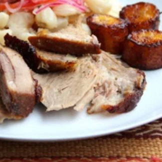 Lechon Hornado with Olive Oil Fried Sweet Plantain and Grilled Zucchini