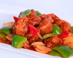 Sweet and Sour pork with Sauteed veggies