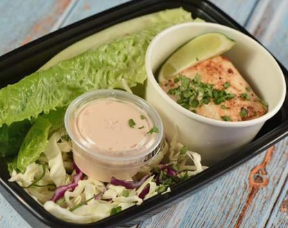 Grilled Fish Lettuce Tacos with Coleslaw