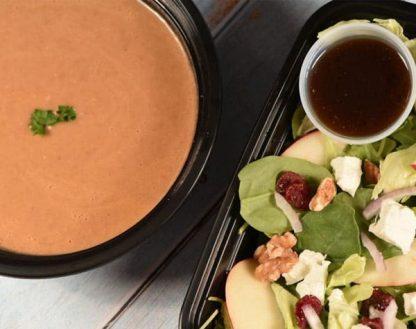 Lentils Bisque and Apple Walnut Cranberry Salad