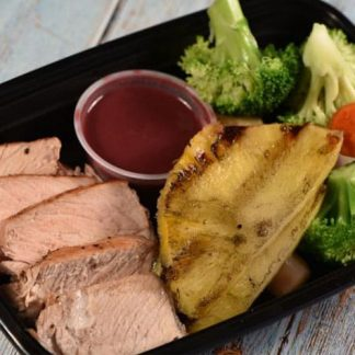 Grilled Pork Chops with Red Wine reduction sauce / Grilled Pineapple and Steamed Veggies.