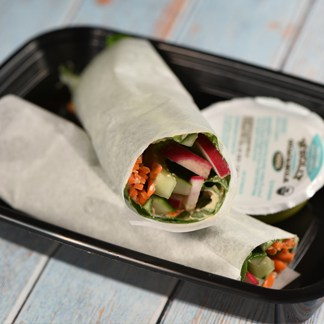 Collard Wraps with Hummus Dip