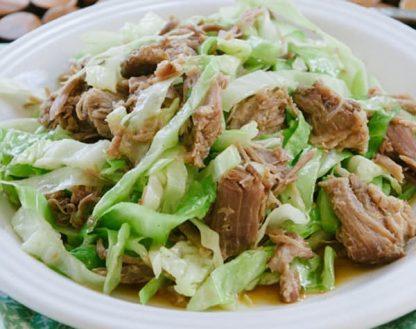 Kalua Chicken with Cabbage and Spaghetti Squash