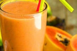 Papaya Banana Smoothie with Boiled Eggs