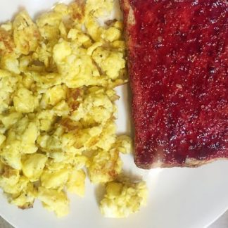 Gluten Free Bread with Sugar Free Jelly and Scrambled Eggs