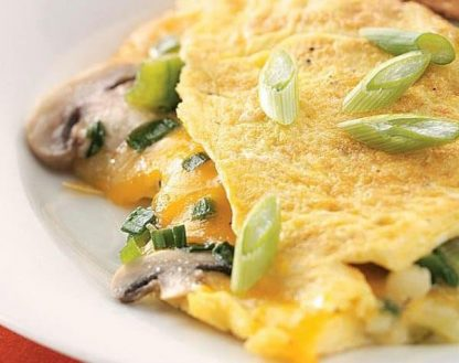 Cheddar and Veggies Stuffed Omelette w/ Roasted Tomatoes