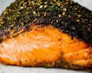 Furikake salmon with Asian salad