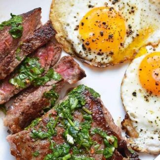 Steak and Eggs with Veggie Fajitas and Chimichurri
